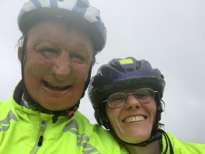 Christine and I in the driving rain!